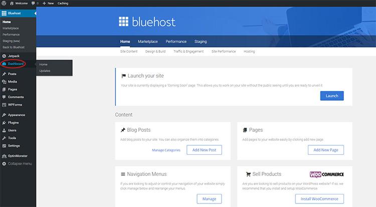 wordpress dashboard link