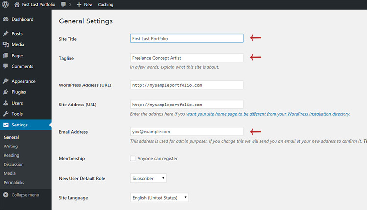 changing default settings wordpress