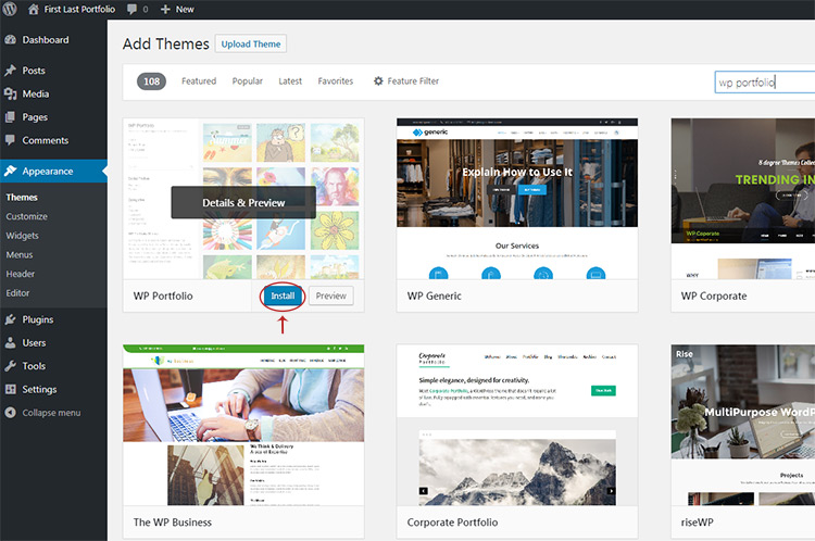 install wordpress theme button