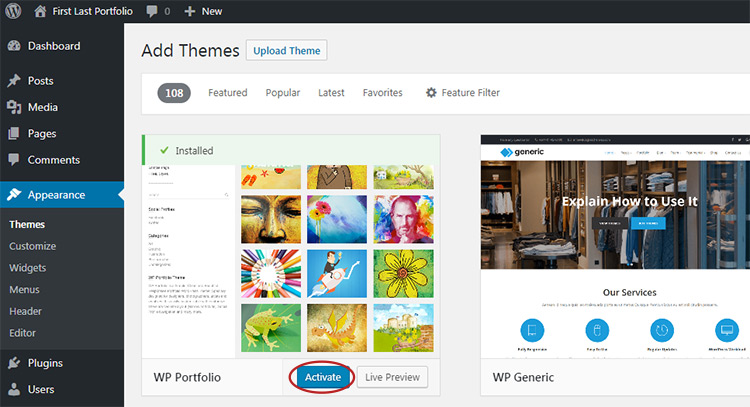 activate wordpress theme