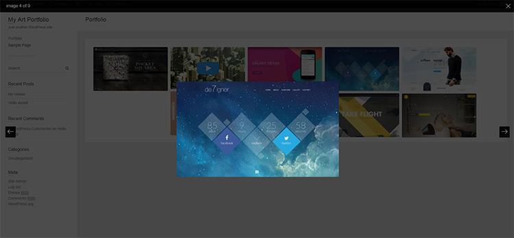 modal slideshow portfolio with huge-it