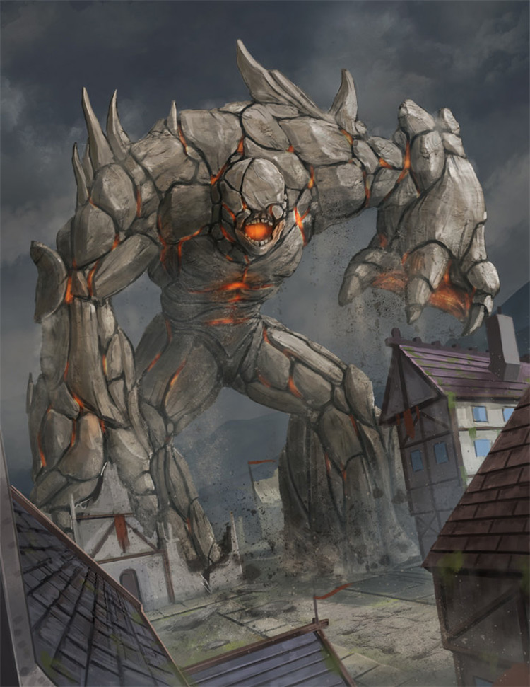Rock Golem Attacking Village