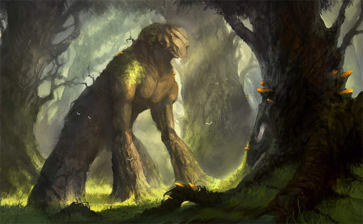 Green wooden earth golem creature