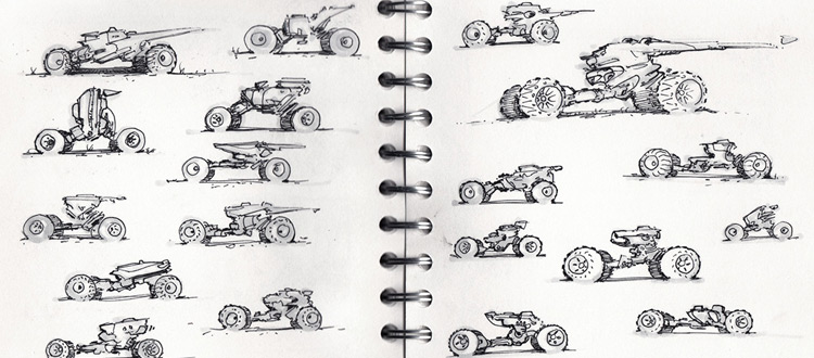 scifi vehicle thumbnail sketches