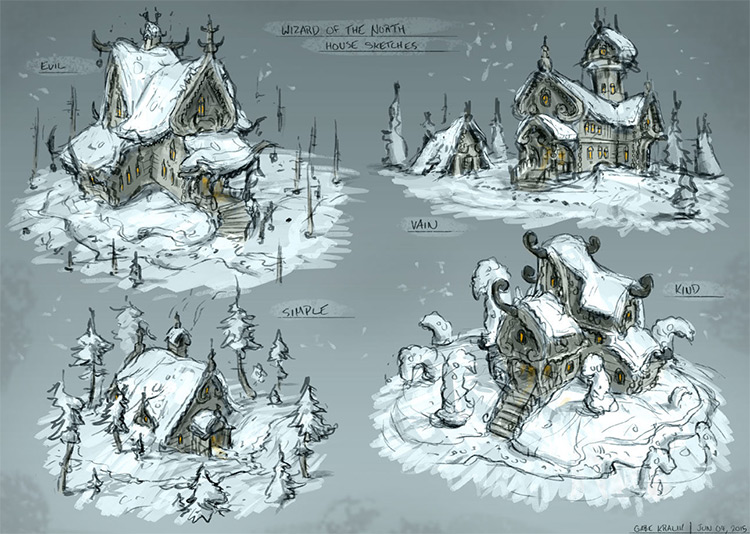wizard of north house sketches snow