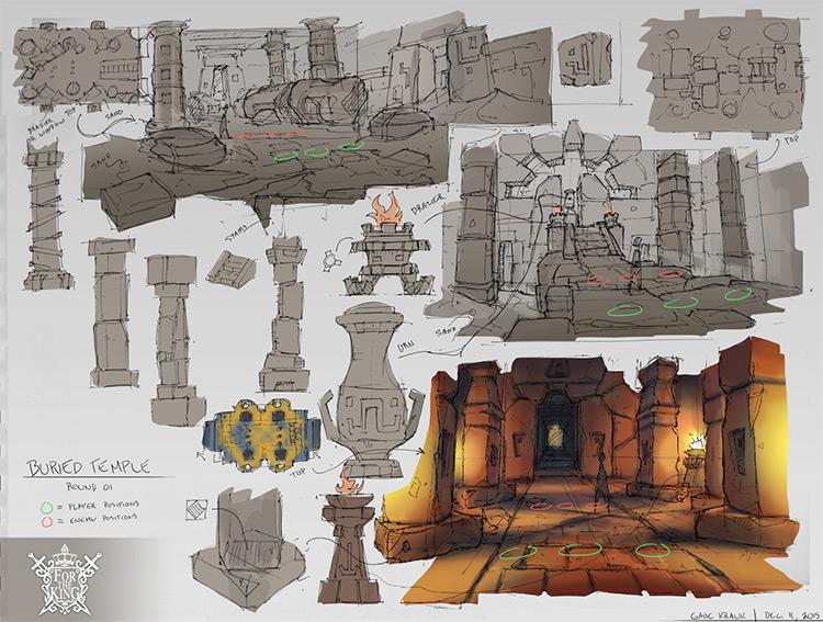 buried temple pillars props concept art
