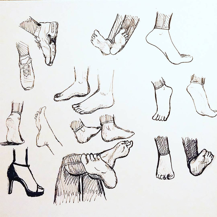 Dark graphite feet studies