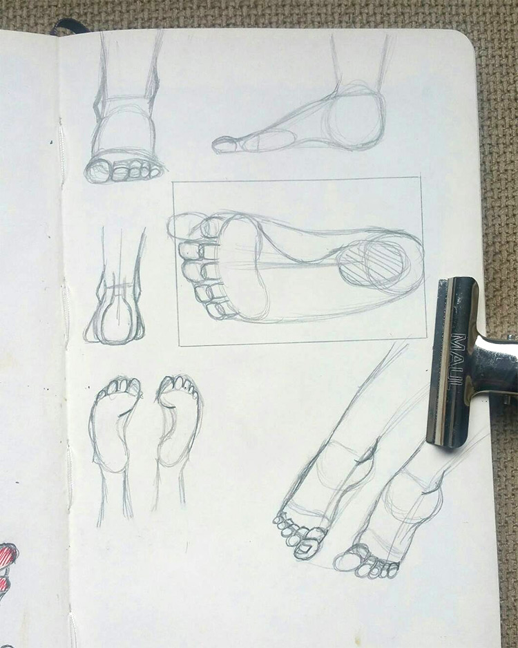 Alternate sketchbook example drawings of feet