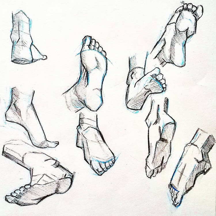 Detailed feet in poses