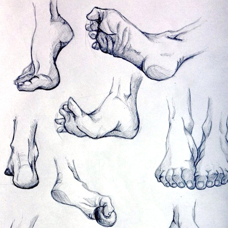 Feet and toes sketches in action