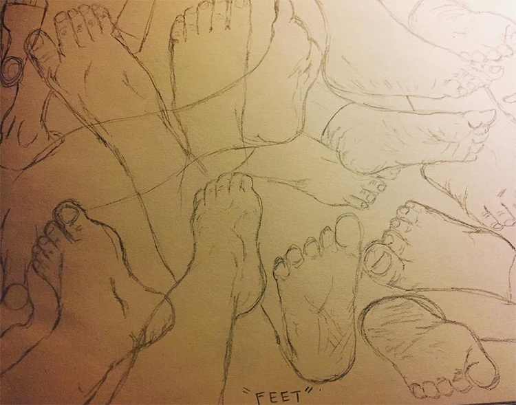 Toned paper sketching feet