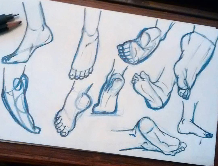 Digital drawings sketches of feet