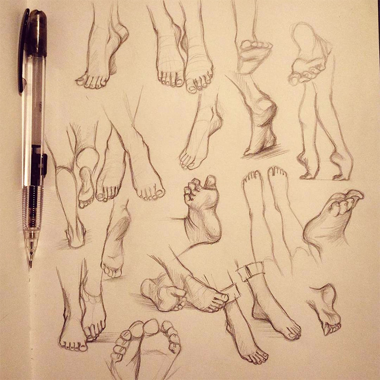 Clear sketches with feet