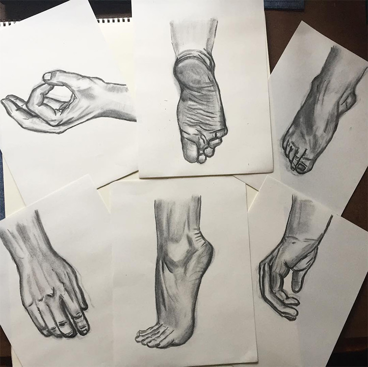 Full renderings of hands and feet
