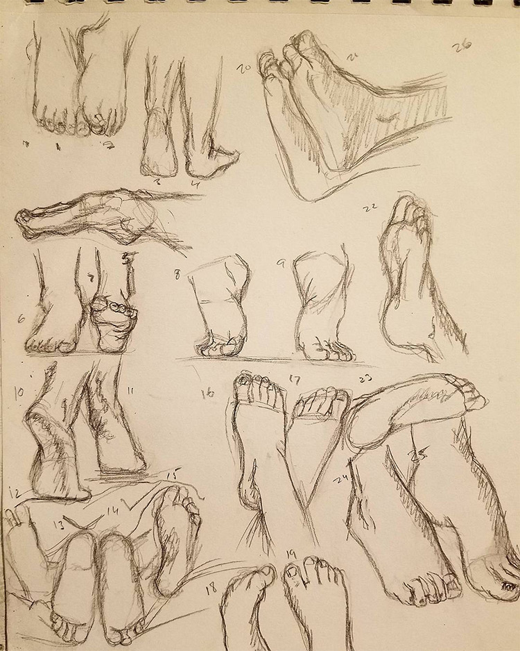 Quick sketches of feet and toes