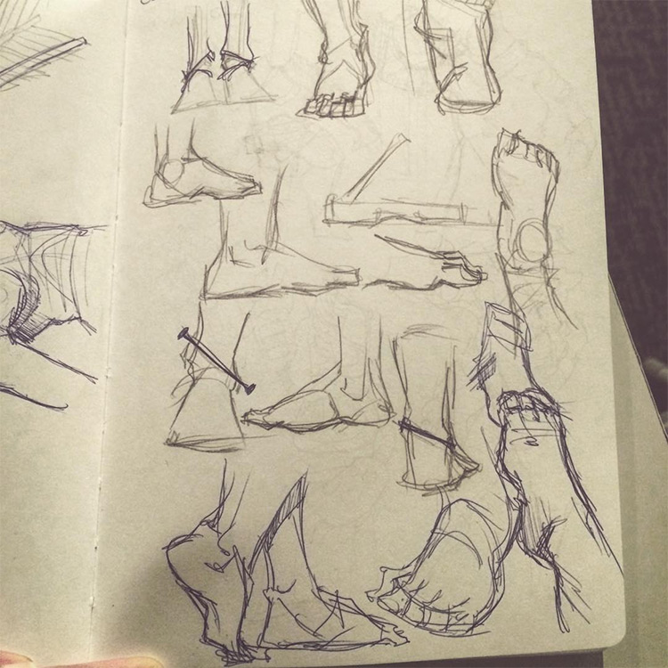 Drawing feet and cup of coffee