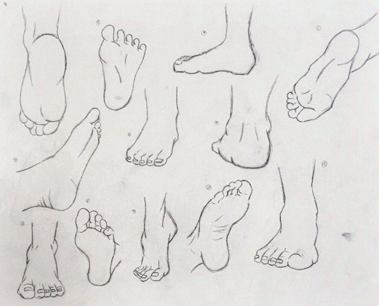 Beginner practicing feet