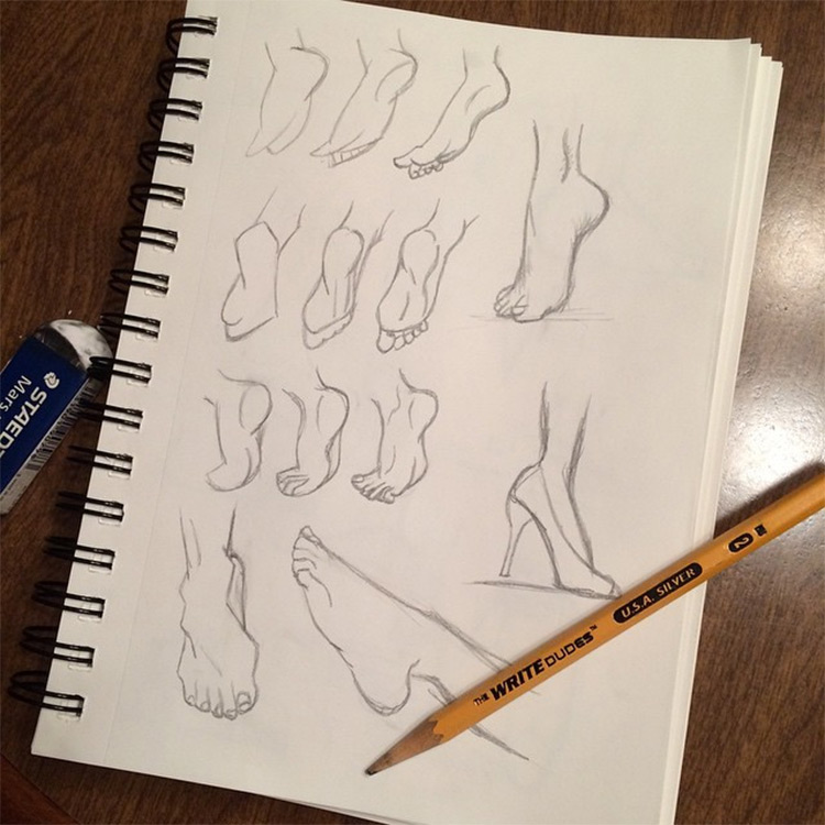 Feet drawings from all perspectives