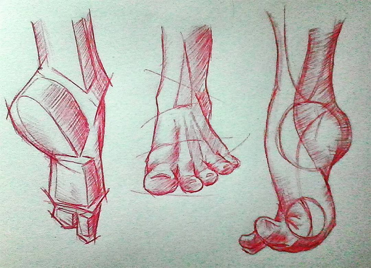 Red pencil drawings of feet with shapes