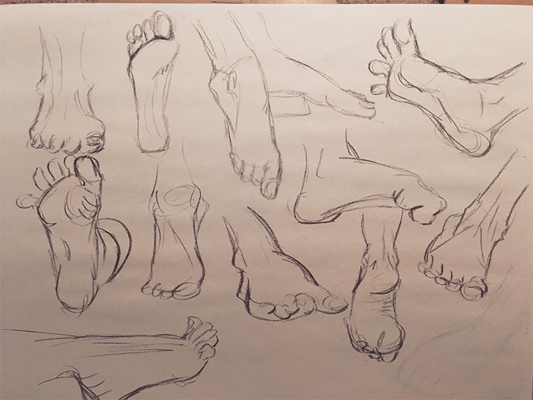 Rough sketches of feet