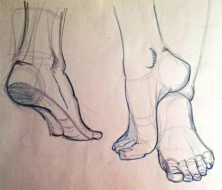 Toes resting against leg drawing