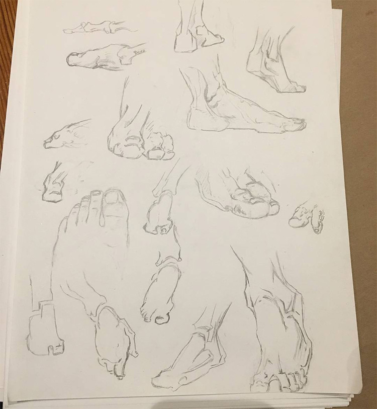 Quick sketches for feet studies
