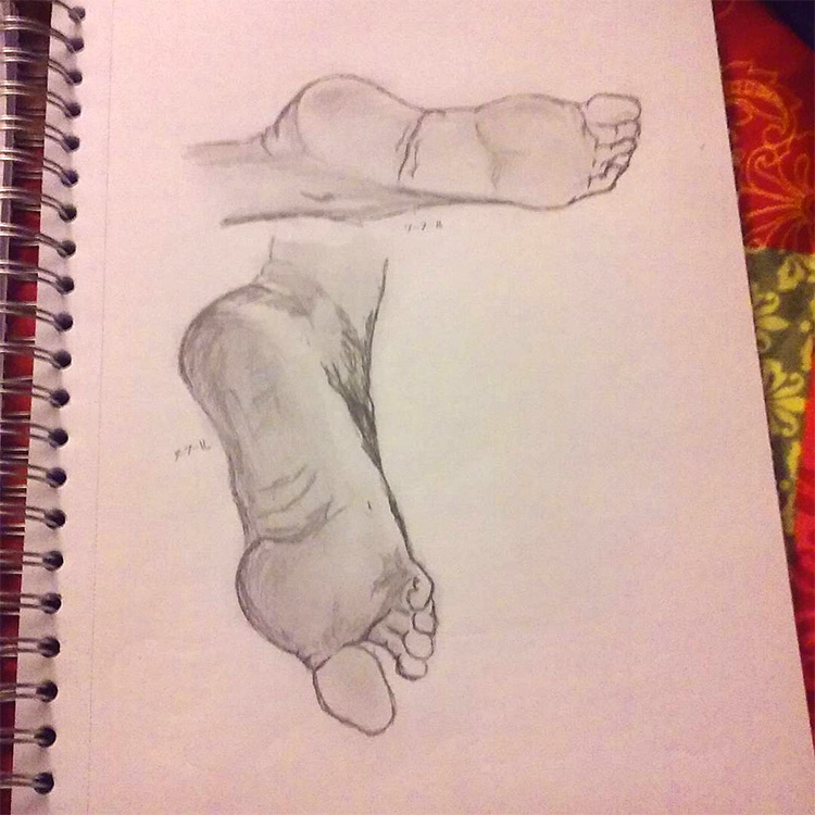 Fully rendered feet drawings