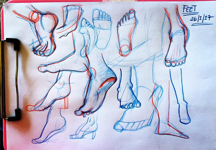 Clipboard of feet drawing studies