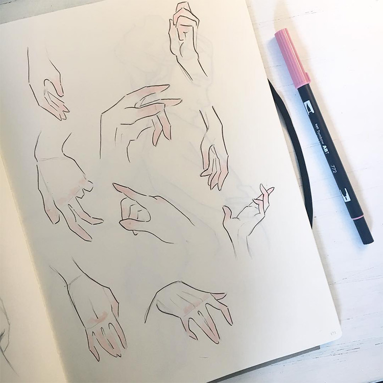 Highlight pink hand sketches