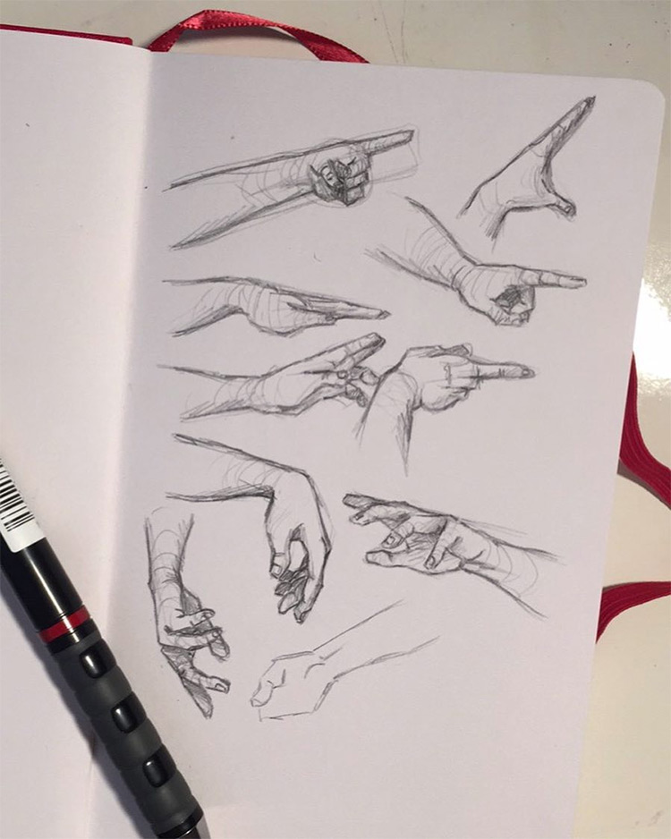 Thin fingers clean hand drawings