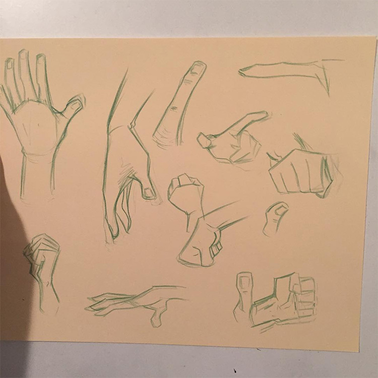 Dark pointing hands and fingers