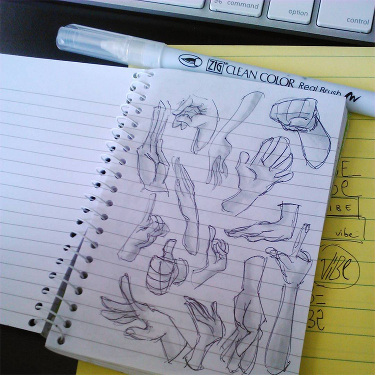 Small notebook hand drawings for practice