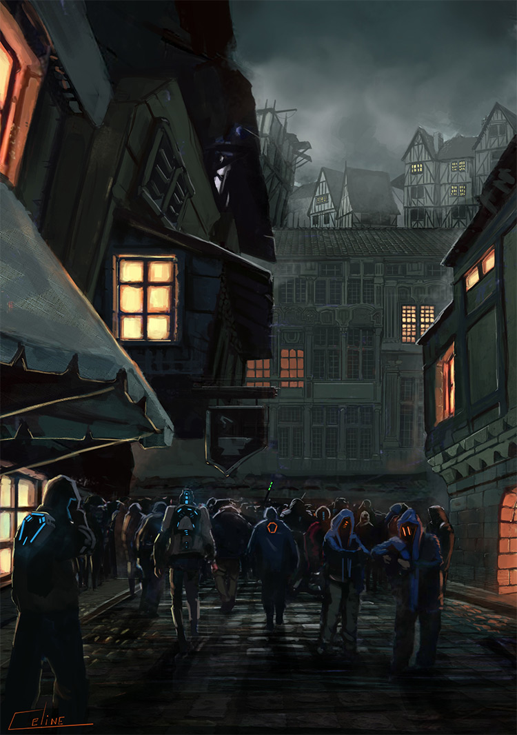 new town crowd gather concept art