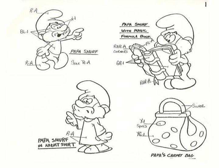 the smurfs 80s model sheet