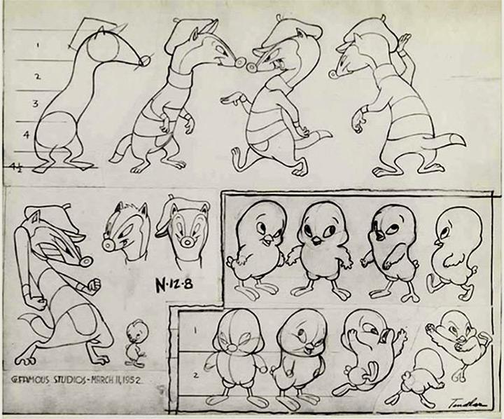 weasel chicken 1952 cartoon model sheet