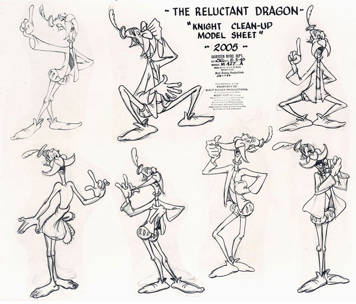 the reluctant dragon model sheet