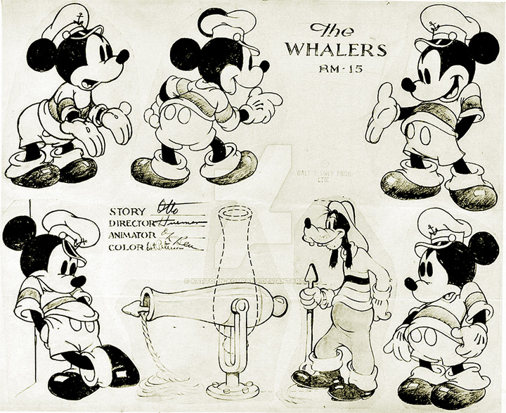 the whalers cartoon mickey mouse model sheet