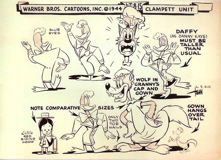 daffy wolf 1944 model sheet